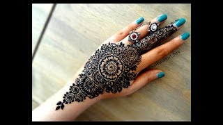 Beautiful famous mandala/gol tikki easy simple henna mehndi designs for hands eid,diwali,weddings