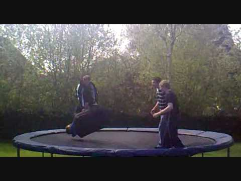 VERY FUNNY kid falls off trampoline...in a suitcase