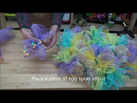 How to make an Easter Deco Mesh Wreath - Spring Deco Mesh Wreath