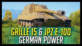 ► Grille 15 & JagdPanzer E-100, German Power! - World of Tanks Gameplay