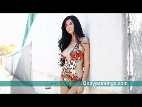 Brazilian Model Maisa in Leopard Body Painted Bikini