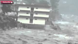Uttarakhand Flood - Kedarnath Buildings and Home Flood Original Footage 2013