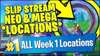 RIDE THE SLIP STREAM AROUND NEO TILTED & MEGA MALL *LOCATIONS* (Fortnite Season 9 Week 1 Challenges)