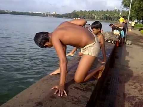 Swimming in Rankala Lake at Kolhapur, Maharashtra, India