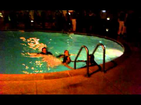 Don and wife jump into pool on wedding day