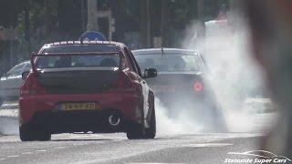 Tuned Cars Leaving Car Show-INSANE SOUNDS & BURNOUTS!