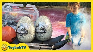 Dinosaur Outdoor Games! Jurassic World Fallen Kingdom Toys, Giant T-Rex & Kids Dinosaurs