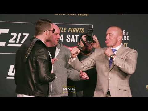 UFC 217:  Michael Bisping vs. GSP Press Conference Staredown - MMA Fighting