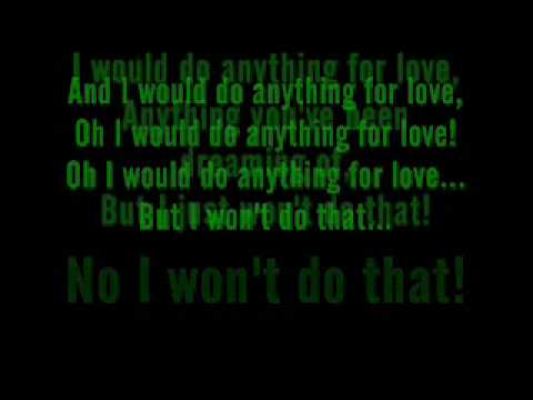 Meat Loaf - I Would Do Anything For Love (but I Won't Do That) Lyrics video