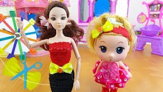 💛 handmade toys - how to make a dress and bow 💛 A829T 💛 Queen doll