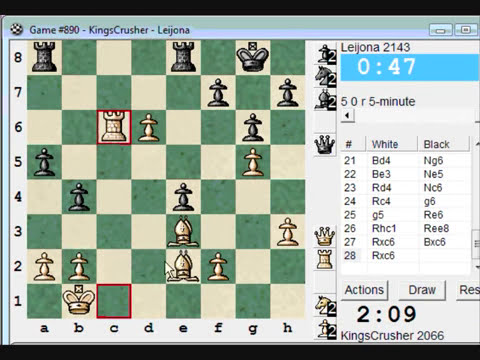 Chess World.net: Blitz #132 vs. Leijona (2143) -Sicilian: Smith-Morra gambit to c3 Sicilian (B21)