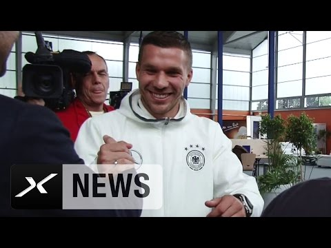 Lukas Podolski scherzt über Sponsor von Thomas Hitzlsperger | DFB-Team | EM 2016 Frankreich