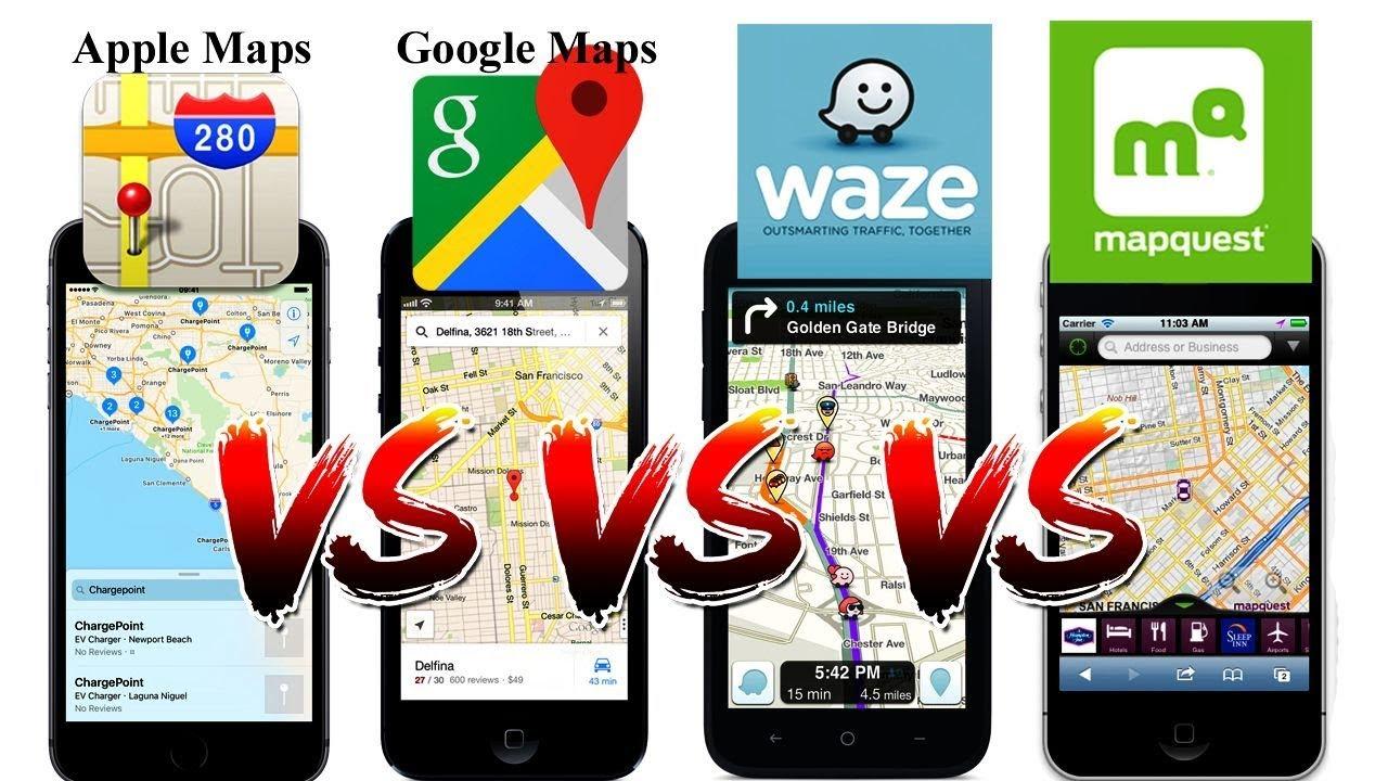 Waze Vs Google Maps Vs Apple Maps Vs Mapquest Youtube