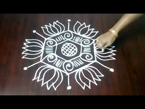 Latest Rangoli With 5 x 3 Design  ||  New Flowers Kolam Design || Fashion World
