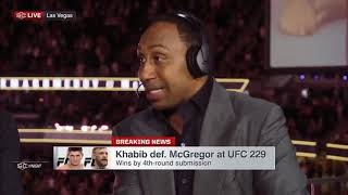 Stephen A. Smith react to Khabib defeat McGregor at UFC 229; McGregor: 1st loss in UFC title fight