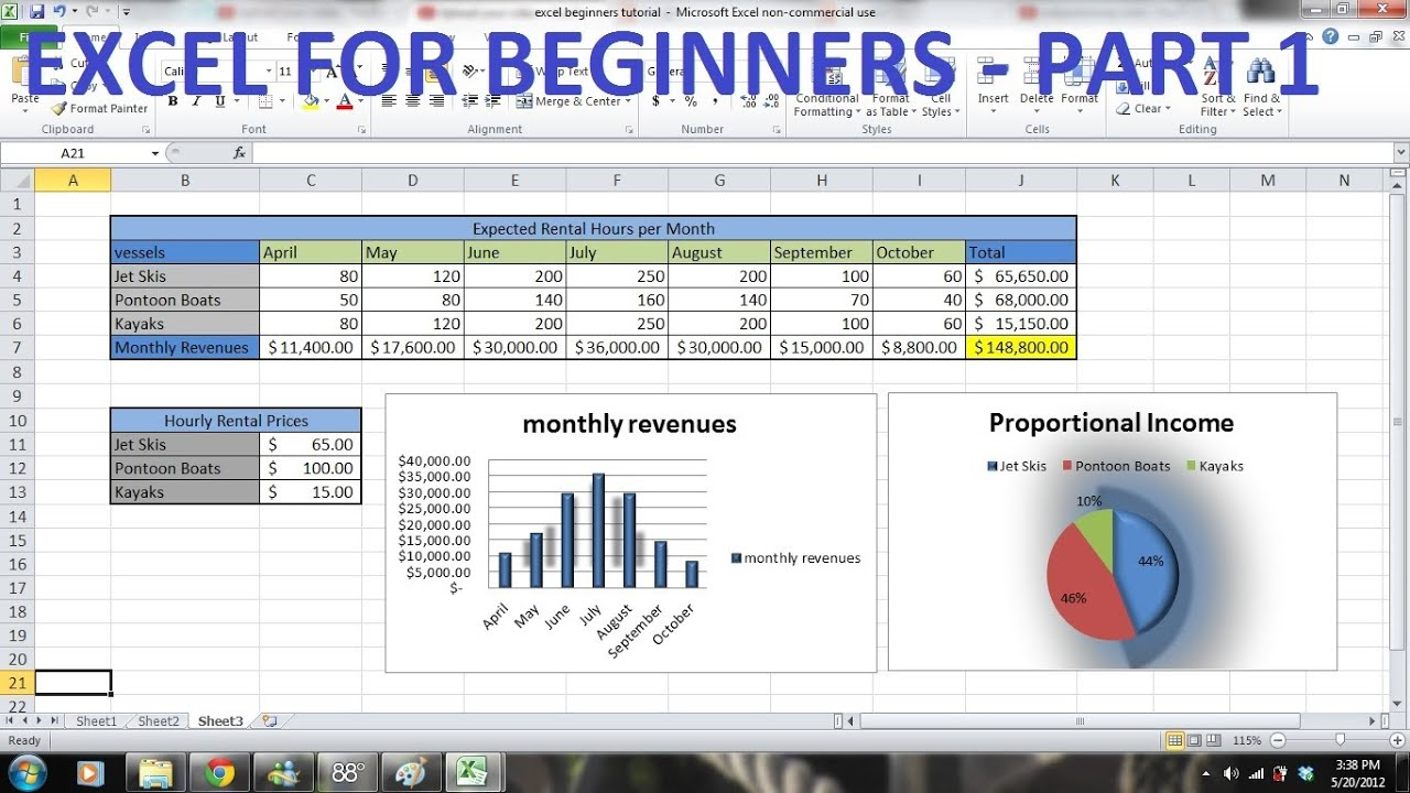 How to Use Excel 2010 Tutorial FOR BEGINNERS PART 1 - How