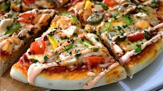 Chicken Pizza with Spicy Ranch Dressing | Spongy Pizza Base | Without Oven