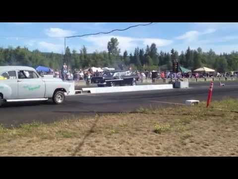 55' CHEVY VS. CHEVY SEDAN BILLETPROOF ERUPTION DRAGS TOUTLE, WA 2013