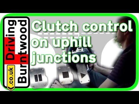 Clutch control driving lesson in a manual car / stick on up hill junctions with biting point