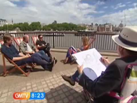 Ricky Gervais, Karl Pilkington and Stephen Merchant caricatured live on GMTV