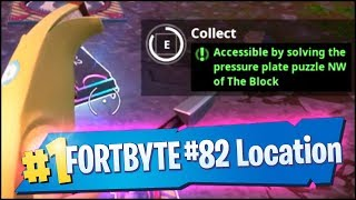 Fortnite FORTBYTE #82 Location - ACCESSIBLE BY SOLVING THE PRESSURE PLATE PUZZLE NW OF THE BLOCK