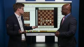 Magnus Carlsen attacks Maurice Ashley during 2017 Paris Grand Chess Tour