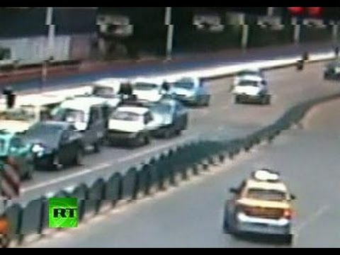 CCTV: China road fence collapses like row of dominoes
