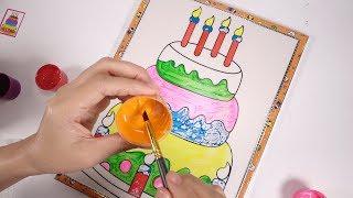 Đồ chơi trẻ em | Hướng Dẫn Bé Tô Màu Bánh Kem Sinh Nhật – Happy birthday cake coloring