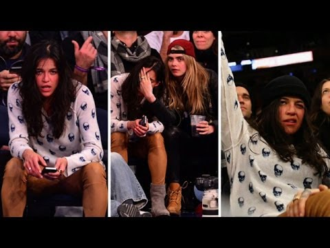 Michelle Rodriguez Scores A Super Model at the Knicks Game!