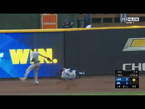 Chris Taylor Incredible Catch vs Brewers | Dodgers vs Brewers NLCS Game 7