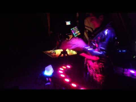 First-time SpaceHarp player, woman in space suit plays at Lucidity Festival 2015