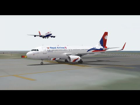 AIRBUS A320 200 NEPAL AIRLINES NEW LIVERY LANDING  AT HONG KONG AIRPORT FS9 HD