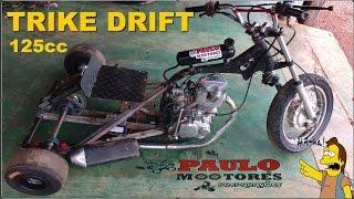 Trike Drift caseiro com motor de moto 125cc Bike emotion Primeiro teste (triciclo)