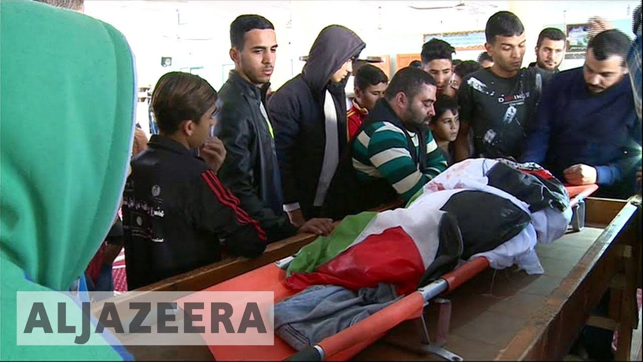 Funeral of Palestinian amputee killed by Israeli fire