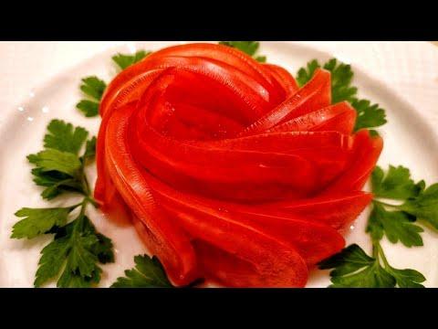 Роза Из Помидора. Украшение из овощей. Как красиво нарезать. Карвинг. Лайфхак