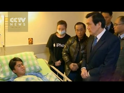 Ma Ying-jeou meets TransAsia Airways survivors in hospital