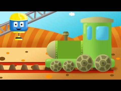 Поезд и локомотив | Том и Мэтт, грузовички - строители | Мультфильм о машинках для детей