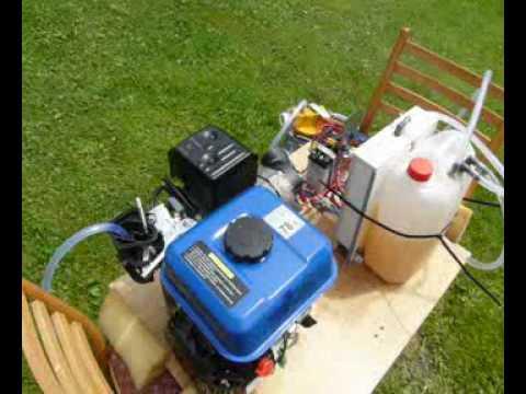 Auto na VODÍK-23 motor 6,5 hp pohání generátor na Vodík