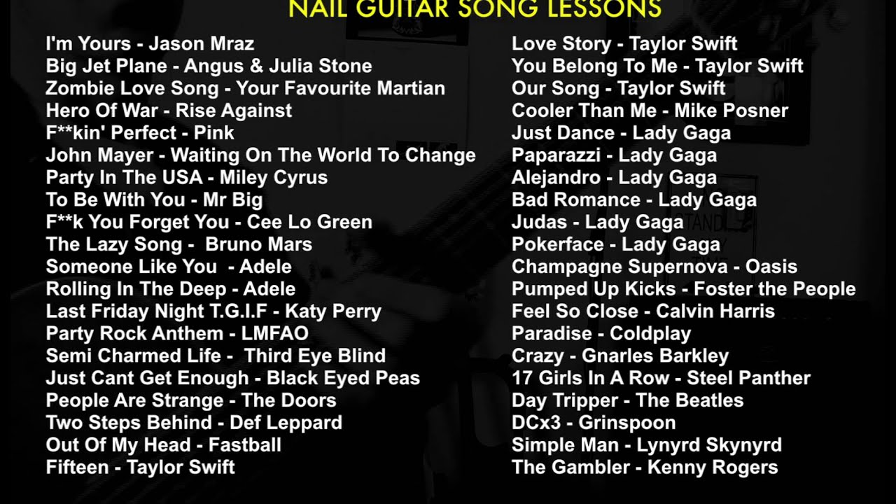 Nail Guitar Song Lessons List - YouTube