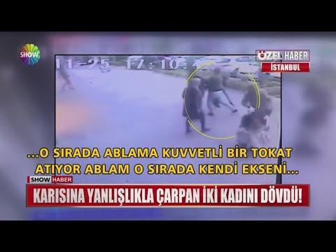 Karısına yanlışlıkla çarpan iki kadını dövdü!