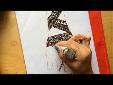 How to draw Simple traditional  Mehendi design using only lines