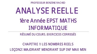 EXERCICES ANALYSE 1ERE ANNEE CHAPITRE1 LEÇON2