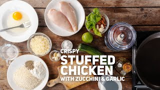 Crispy Stuffed Chicken Breasts with Zucchini & Garlic