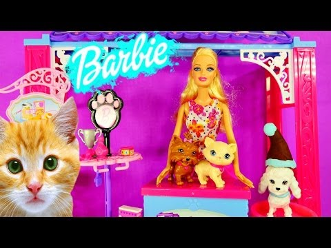 How Does Barbie Wash Her Cats and Dogs? Barbies Grooming Pet Boutique Play Doh Toys Review