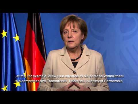 Chancellor Angela Merkel Introduces President Jose Manuel Barroso