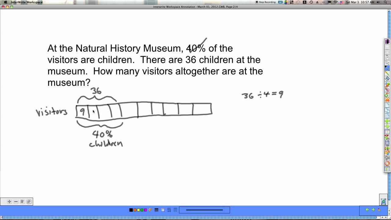 percent word problems singapore math 6a unit 4 pt1 youtube