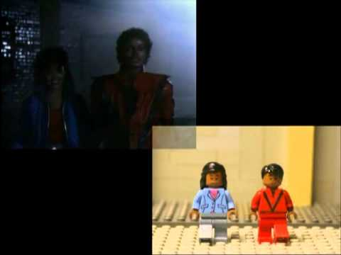 "Side by side camparison of ""Micheal Jackson s  Thriller  Tribute in LEGO"""