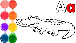Learn letter A and how to draw an alligator | ABC easy painting & coloring drawings | art for kids