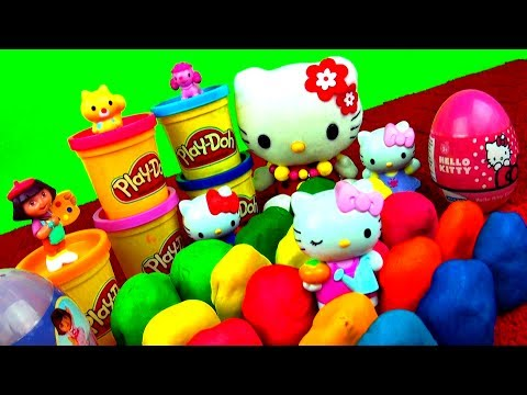 20 Surprise Play Doh Eggs Hello Kitty Spiderman LPS My Little Pony Angry Birds Peppa Pig Dora Cars