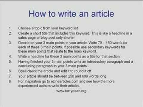 How to write an article on finance